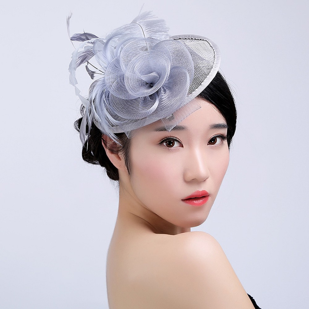 Specially Designed For Lady Party Hats 2019 New Women Wedding Fascinator Mesh Hat Ribbons Feathers Party Hat