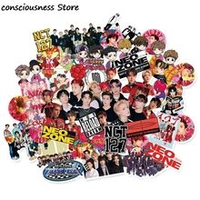 62Pcs/Pack Kpop NCT127 NCT Cartoons Expression Adhesive Photo Sticker For Luggage Laptop Notebook Mobile DIY Stickers