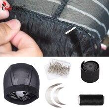 Купольные шапки Leeons с шелковыми волнами для изготовления парика, эластичная лента для изготовления фронтального парика на сетке, волнистые...