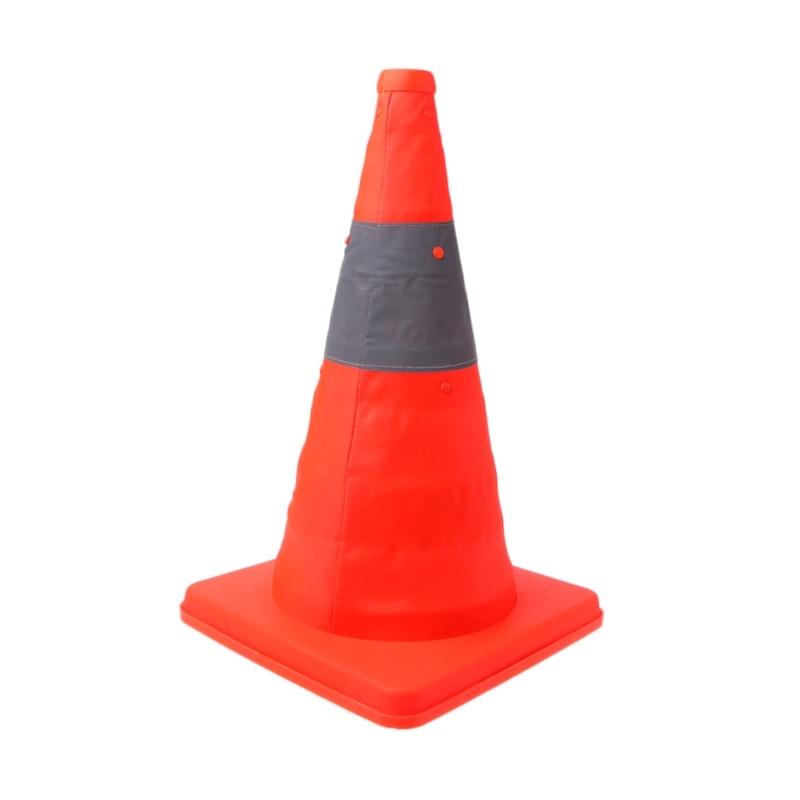 42cm Folding Road Safety Warning Sign Traffic Cone Orange Reflective Tape