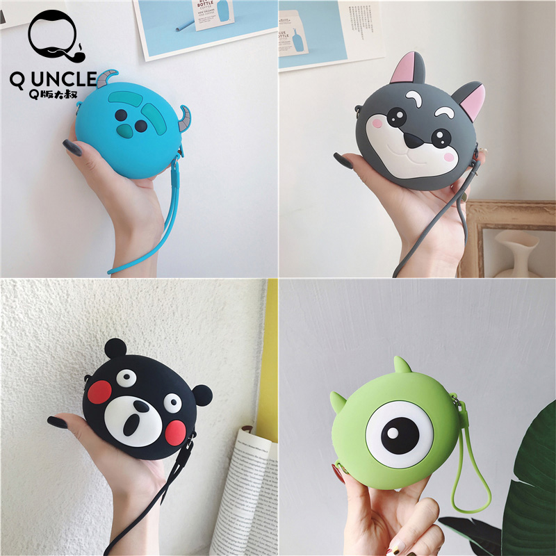 Q UNCLE Kids Purse Silica Gel Zipper Portable Headset Storage Bags Cartoon Coin Purse Pouch Kawaii Wallet Keychain Purse Bags