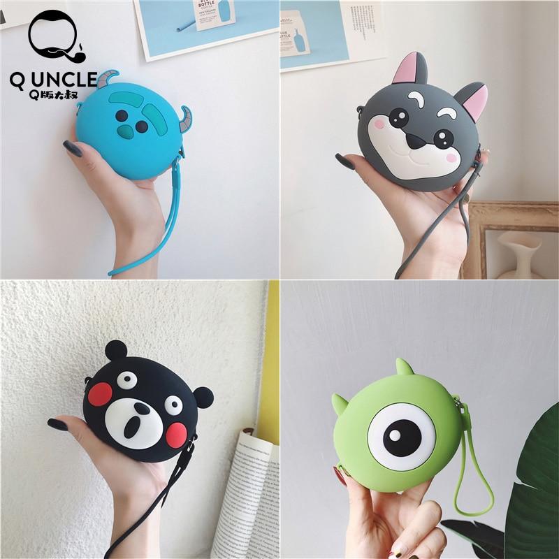 Q UNCLE Kids Purse Silica Gel Zipper Portable Headset Storage Bags Cartoon Coin Purse Pouch Kawaii Wallet Keychain Purse Bags