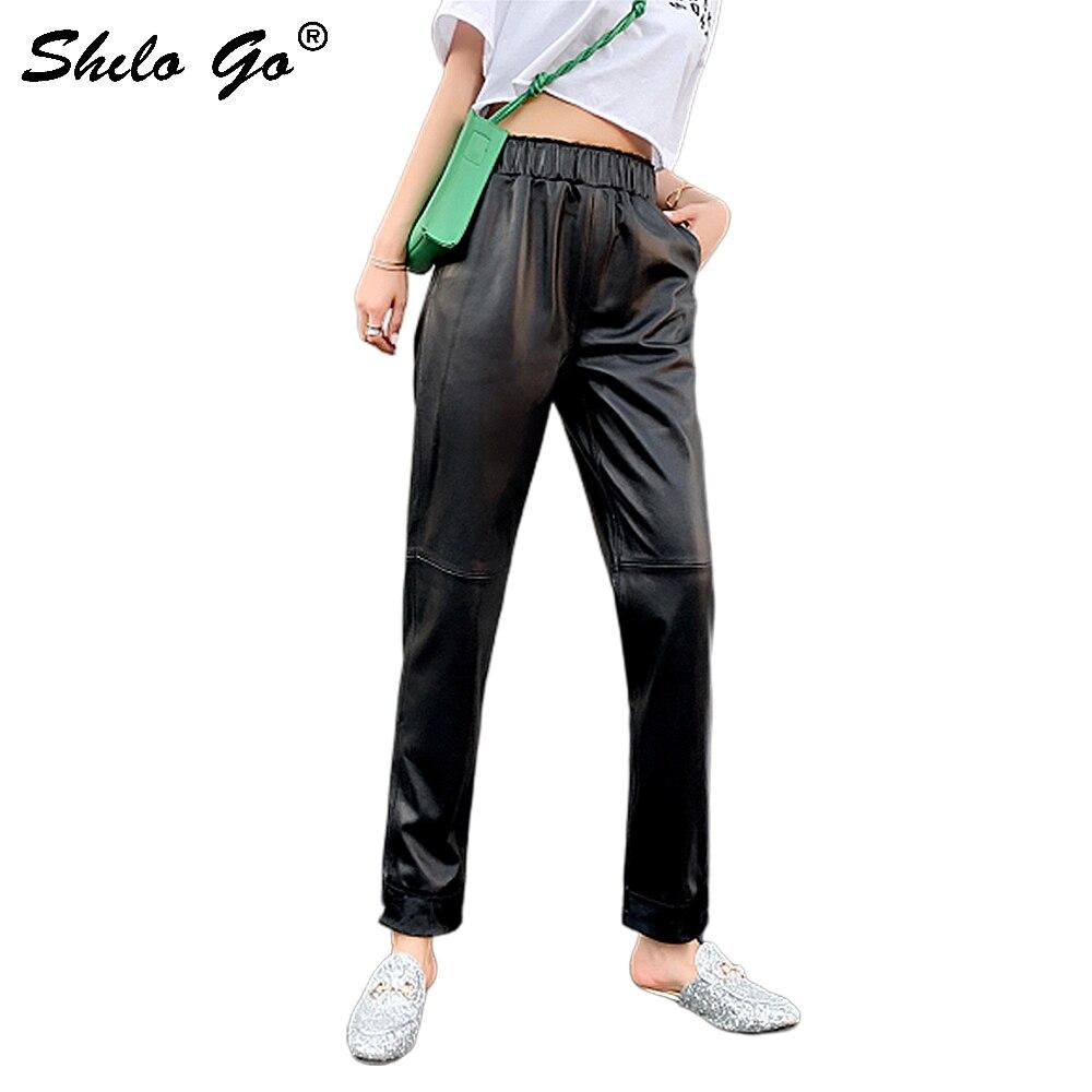 Genuine Leather Pants Black Elastic Waist Solid Loose Harem Pants 2020 Autumn Women Causal Pocket Side Concise Basics Trousers