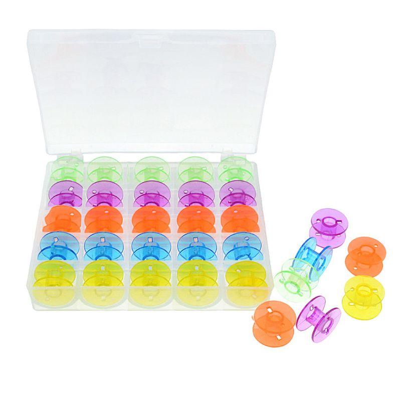 25Pcs Multicolored Plastic Coil Empty Bobbins Colorful Sewing Machine Spools