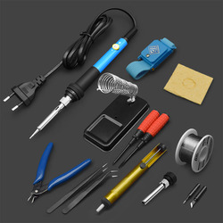 1 Set Adjustable Temperature Electric Soldering Iron Handle 60W Welding Solder Station Kit Blue Rework Heat Tips Repair Tool