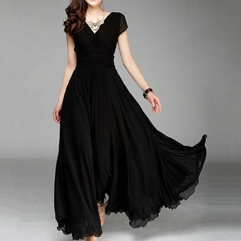 Women Dress Plus Size Solid Color Women Party Gown V Neck Short Sleeve Slims Fit Maxi Dress Sexy Women's Dresses Short Sleeve V
