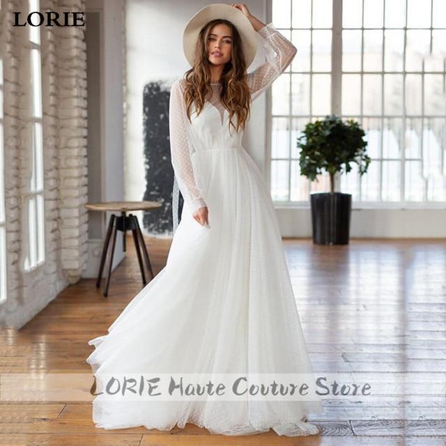 LORIE A-line Beach Wedding Dress Puff Sleeve Sweep Dot Tulle Bridal Dress Custom Made Princess Wedding Gowns Boho Plus Size 4