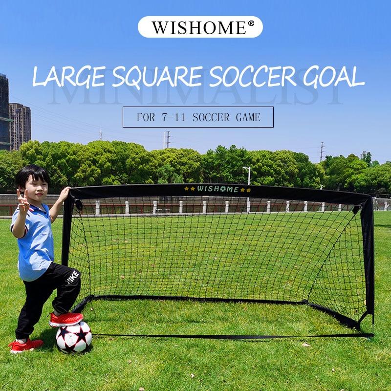 WISHOME Folding Large Soccer Goal For Backyard Square Fotball Gate Soccer Net For Kids Family Outdoor Sports Training Equipment