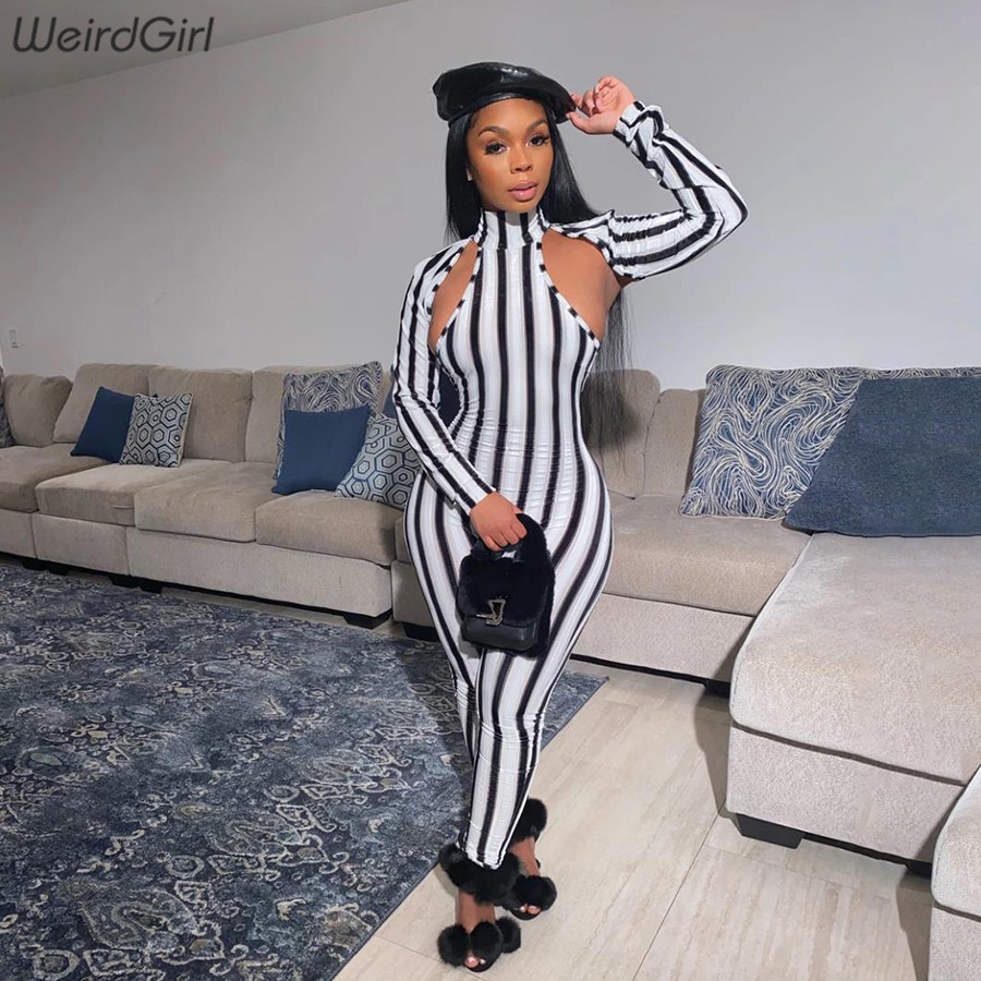 Weirdgirl Women Hollow Out Striped Junpsuits Casual Fashion Print Long Sleeve Stretchy Streetwear Bodycon Femme Rompers 2020
