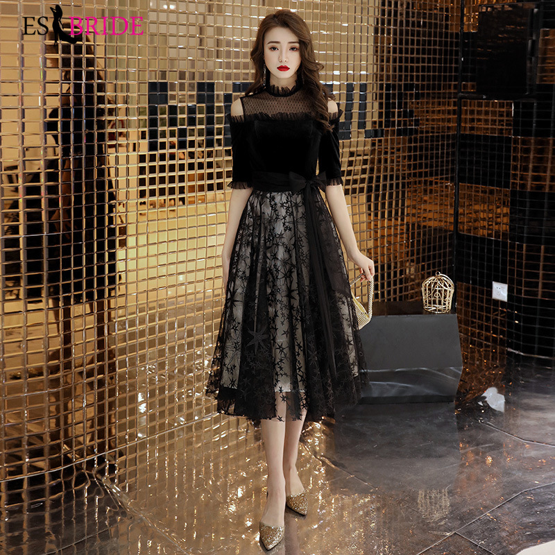 Special Occasion Dress Party Prom Gown Black Lace Appliques Formal Dress Women Elegant Quinceanera Office Evening Dress ES2536