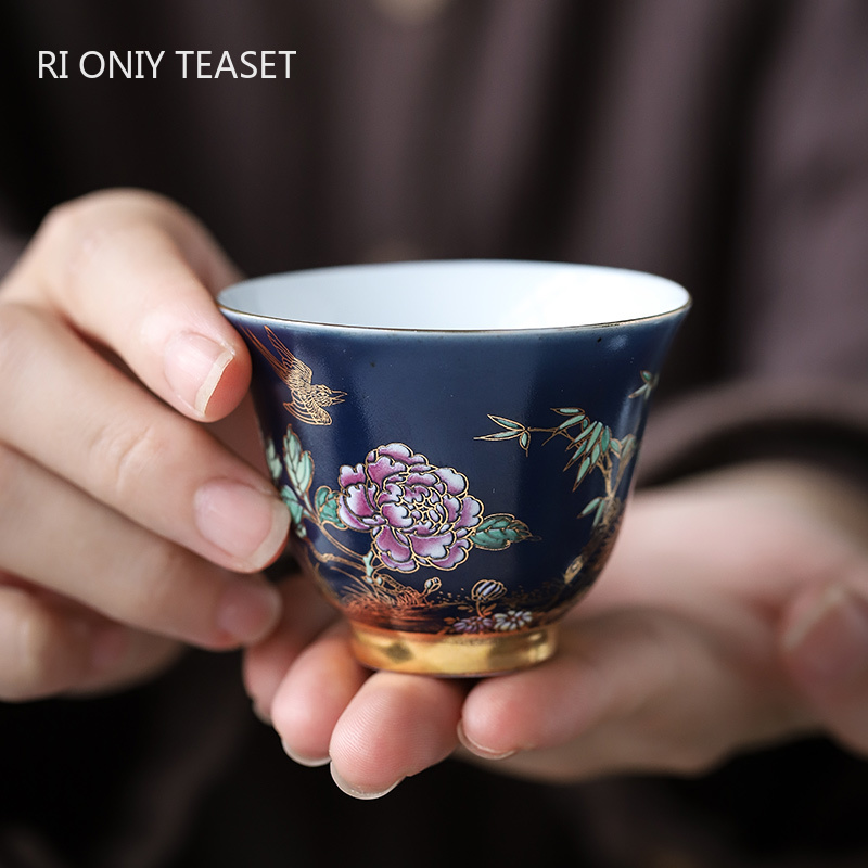 Palace Luxury Ceramic Teacup Personal Meditation Cup Hand Painted Flowers Tea Bowl Tie Guanyin Pu'er Master Cup Tea Set 65ml