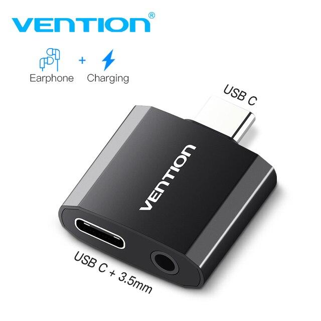 Vention USB C ถึง 3.5 มม.หูฟังอะแดปเตอร์ชาร์จ Type C แจ็ค 3.5 Type C หูฟังแปลงสำหรับ xiaomi Mi6 Huawei P20 Pro