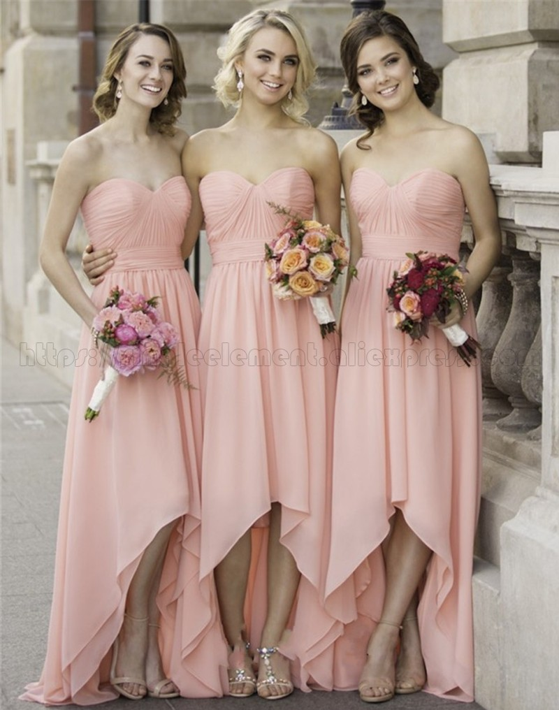 Blush Pink Bridesmaid Dresses Sweetheart A-line Hi Low Sleeveless Wedding Party Dress Elegant For Women