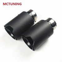1 pair M LOGO Performance Matt Carbon Fiber + Black Stainless Steel For Car Carbon Exhaust Tips Tail Pipes
