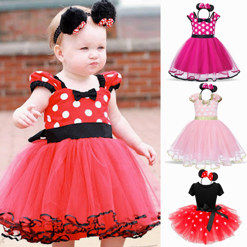 12M Baby Girls Minnie Dress Kids Mouse Costume Toddler Children 2 Years Birthday Ballet Clothes Princess Summer Party Dresses