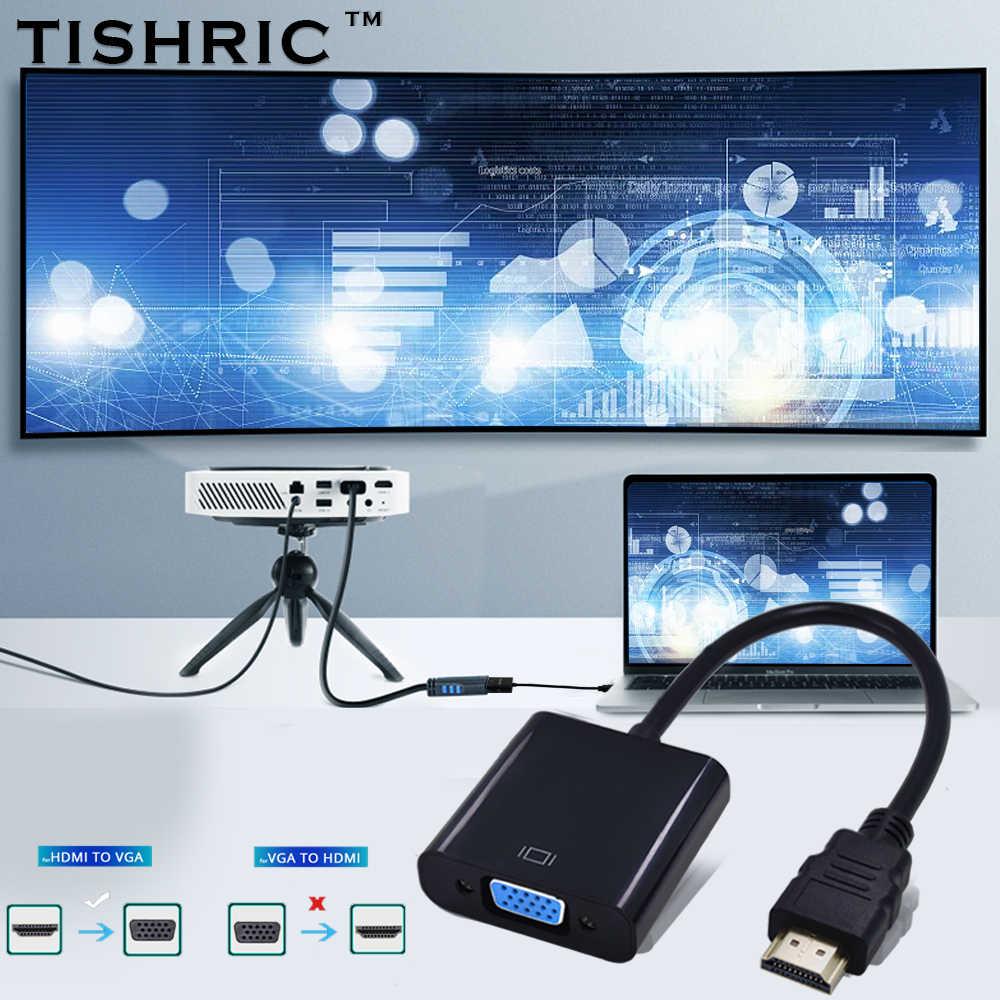 Adaptador de áudio hdmi para vga tishric, conversor macho para fêmea digital para analógico para monitor projetor pc
