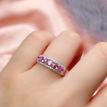 CoLife Jewelry Pink Sapphire Ring for Daily Wear 6 Pieces Natural Pink Sapphire Ring 925 Silver Sapphire Jewelry