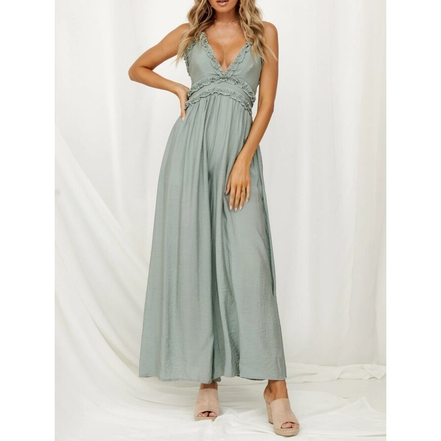 Nice Sexy Women Deep V Neck Jumpsuit Spaghetti Straps Ruffle Female Jumpsuit Romper Casual Backless Wide Leg Overalls