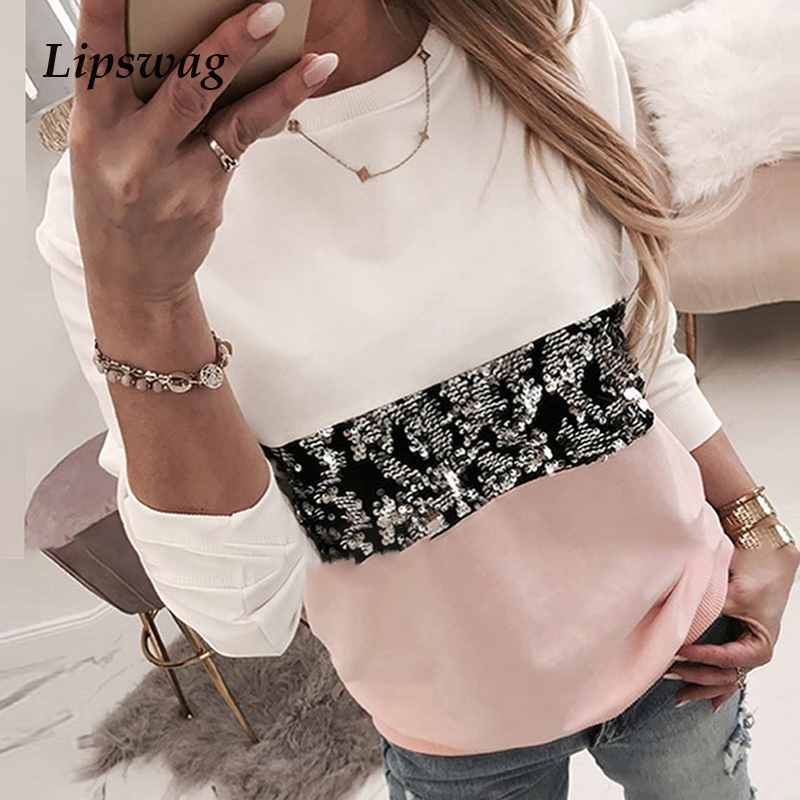 Women Sequins Print Sweatshirt Fashion Lips Autumn Leopard Long Sleeve Beading O-neck Hoodie Ladies Kawaii Sweatshirt Hoodies
