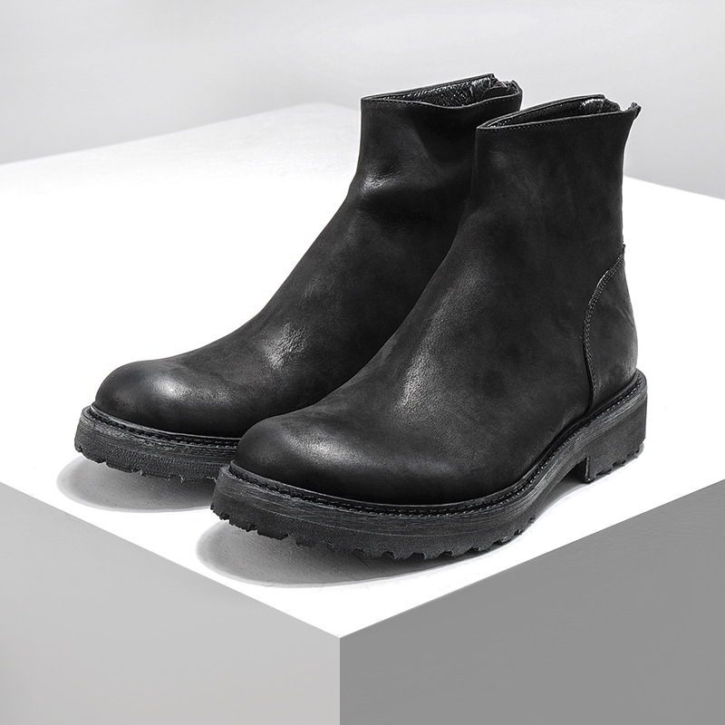 Autumn winter European and American retro boots punk style frosted cow leather back zipper men's leather boots