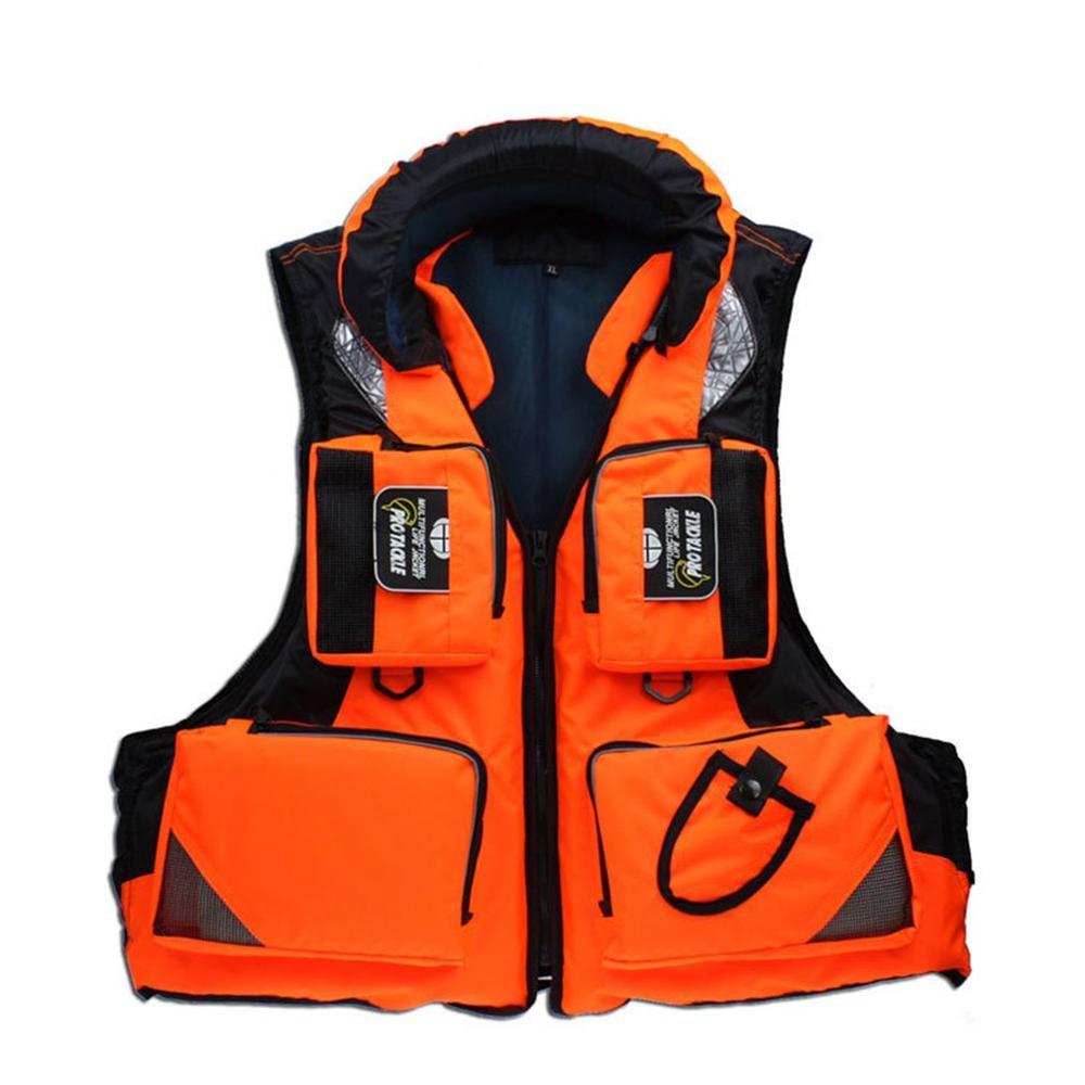 Multi Bags Eye-catching Oversized Buoyancy Fishing Lifejacket Reflective Stripe Detachable Cap Breathable Aid Saving Vest