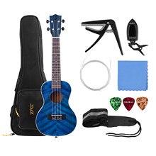 23 Polegada concerto acústico ukulele ukelele uke azul madeira compensada corpo projetado madeira fingerboard ponte com kit ukelele