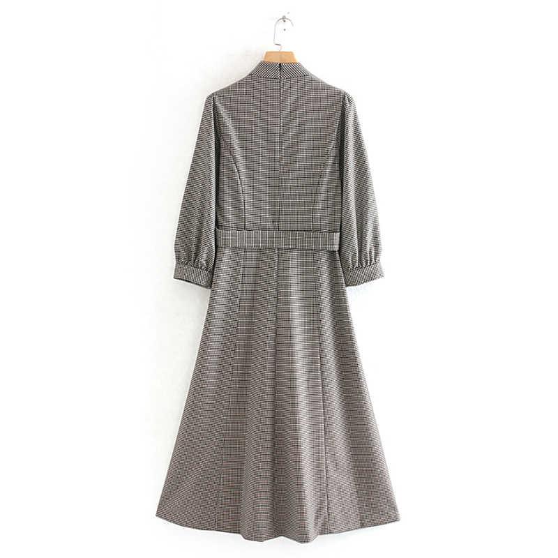 AGong, платья с воротником-стойкой, женская мода, галстук в ломаную клетку, пояс на талии, платье для женщин, элегантное, три четверти, платья для женщин, для девушек, JN