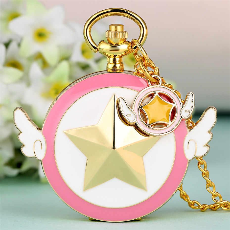 Золотая звезда с двумя крыльями дизайн кварцевые карманные часы прекрасный розовый девушка кулон ожерелье часы подарки студентам