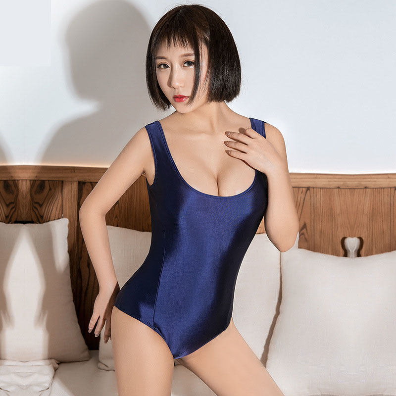 Hot Sexy Japanese <font><b>Kawaii</b></font> Shiny Swimsuit Zipper Open Crotch Bodysuit Bathing Body Suit Tops Women Swimwear Swimming Costume Tight image