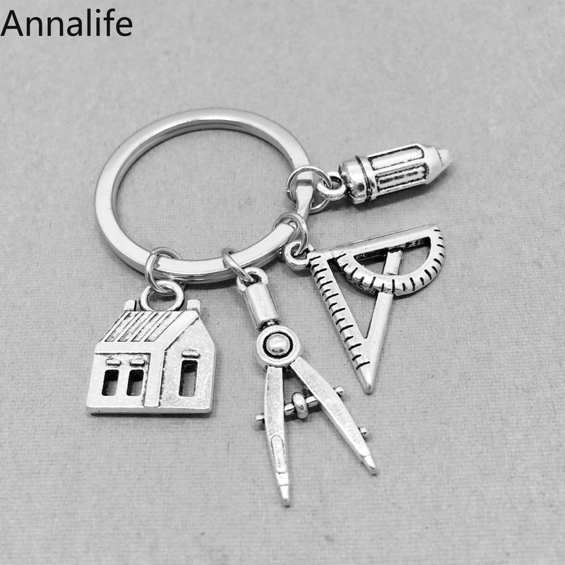 2019 New Metal Engineer Keychain Ruler Keychain Addition Formula Keychain Friendship Gift