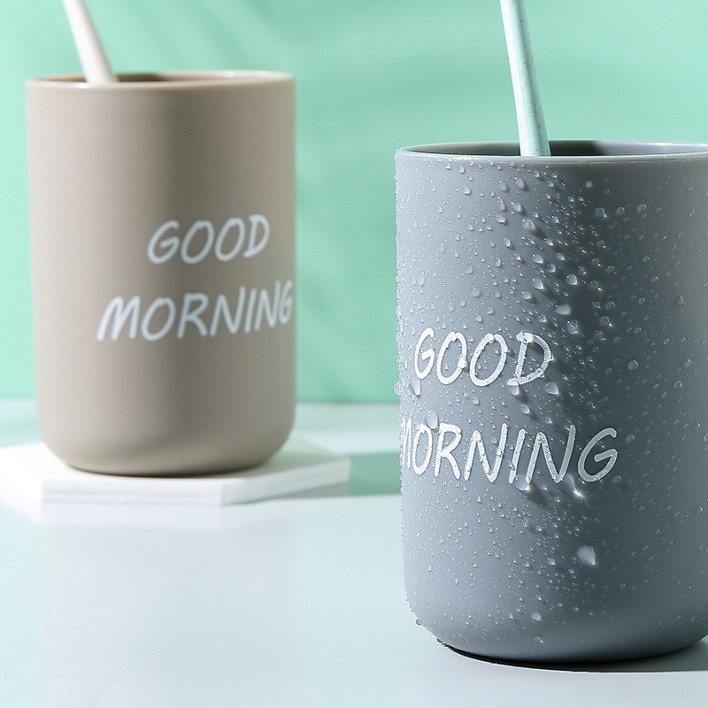 1PC Simple Nordic Travel Portable Washing Cup Home Bathroom Couple Plastic Good Morning Toothbrush Holder Cup Storage Cup 3