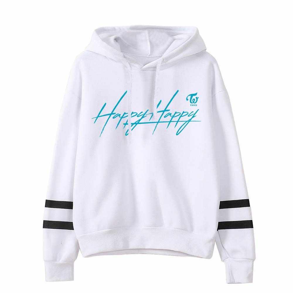 Coreano Kpop dos veces nuevo álbum feliz Sudadera con capucha sudaderas mujeres de manga larga Harajuku a rayas con capucha Streetwear K Pop ropa