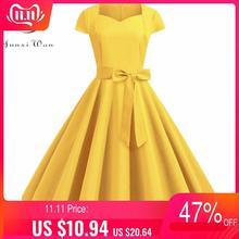 Summer Solid Yellow Color 50s 60s Vintage Dress Women Short Sleeve Square Collar Elegant Office Party Midi Dresses Belt