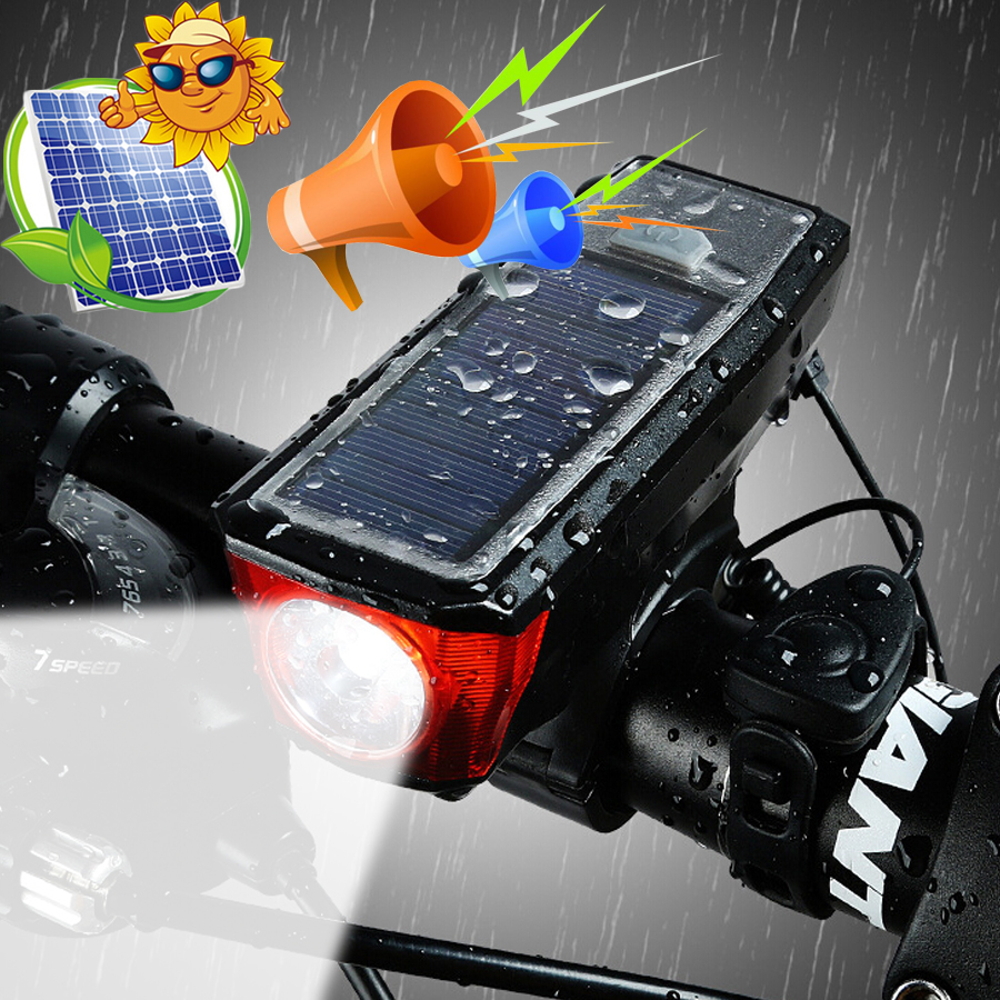 Bicycle Light Bike LED Light Horn Solar Powered USB Rechargeable  Waterproof 2000 MAh Warning Lamp Night Safety Taill Powerbank