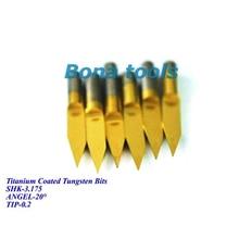 3.175mm titanio recubierto forma V fondo plano grabado bits carburo PCB grabado CNC Bit Router Herramienta 20 grados 0,2mm nuevo