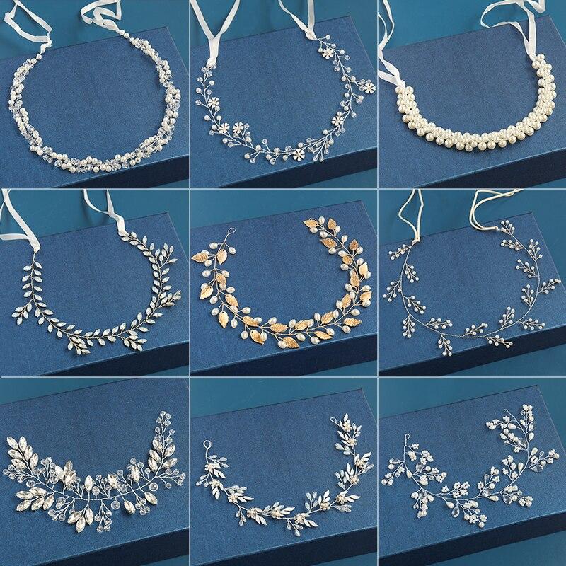 2020 Wedding Hair Accessories Crystal Pearl Headband tiara Flower Headpiece Hair Vine Women Hair Jewelry Bridal Hair Accessories