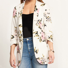 Spring Autumn Fashion Print Pocket Small Blazer long sleeve turn down collar white open stitch regular