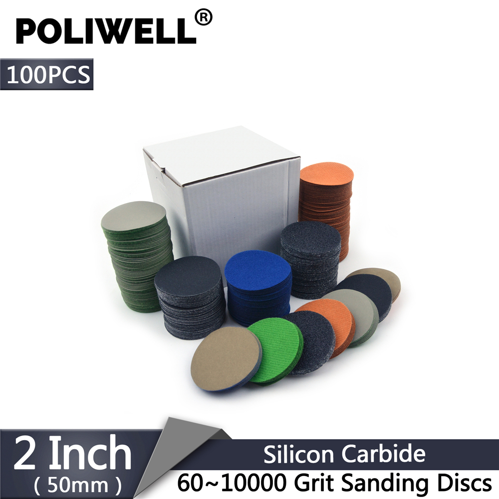 POLIWELL 100PCS 2 Inch 50mm 60-10000 Grit Flocking Sanding Discs Wet And Dry Waterproof Sandpaper Car Headlight Sanding Paper