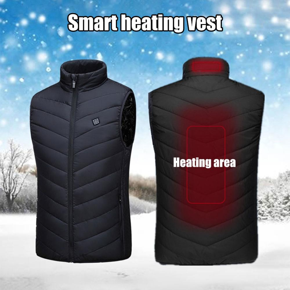 2019  Upgraded Men Outdoor USB Infrared Heating Vest Jacket Winter Carbon Fiber Electric Thermal Clothing Waistcoat Keep Warm