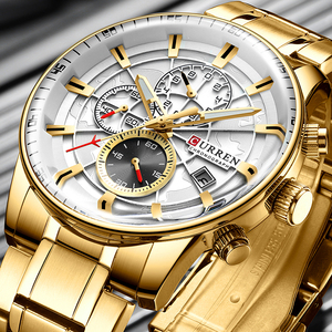 Watch Men Top Luxury Brand CURREN Gold Sport Waterproof Quartz Watches Mens Chronograph Date Male Clock relogios masculino(China)