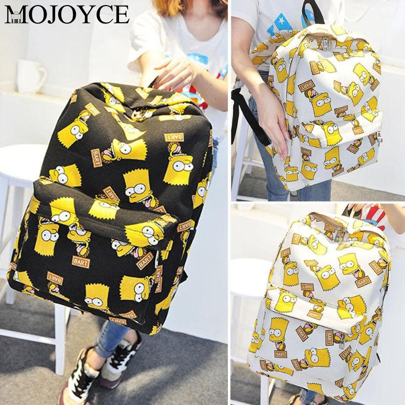 Fashion Large Capacity Women 39 s Men 39 s Cartoon Printing Canvas Travel Backpack School Bag Girls Leisure Shopping Rucksack Mochila in Backpacks from Luggage amp Bags