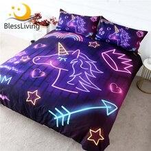 BlessLiving סגול Unicorn מצעים זוהר להגדיר שמיכה כיסוי צבעוני קשת כיסויי מיטה ניאון אור כתר מיטת סט לילדים 3pcs