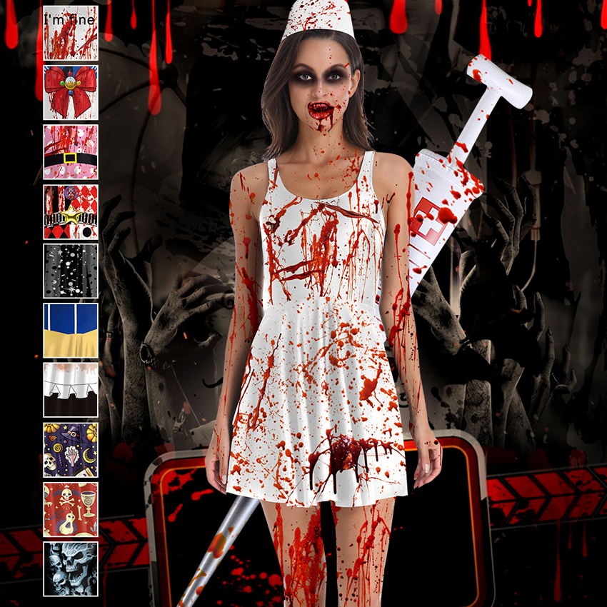 <font><b>Halloween</b></font> Scary Cosplay Costumes for <font><b>Women</b></font> Blood <font><b>Sexy</b></font> Nurse Uniforms Gothic Femme Zombie Devil Demon <font><b>Dress</b></font> Vampire Vestido image