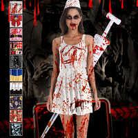 Halloween Scary Cosplay Kostüme für Frauen Blut Sexy Krankenschwester Uniformen Gothic Femme Zombie Teufel Dämon Kleid Vampire Vestido