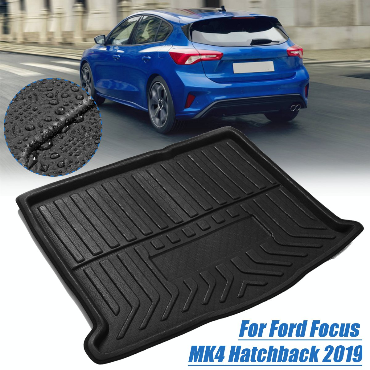 Accessories Cargo Boot Liner For Ford Focus MK4 Hatchback 2019  Rear Cargo Liner Trunk Mat Floor Tray Carpet Mud Kick Pad NEW
