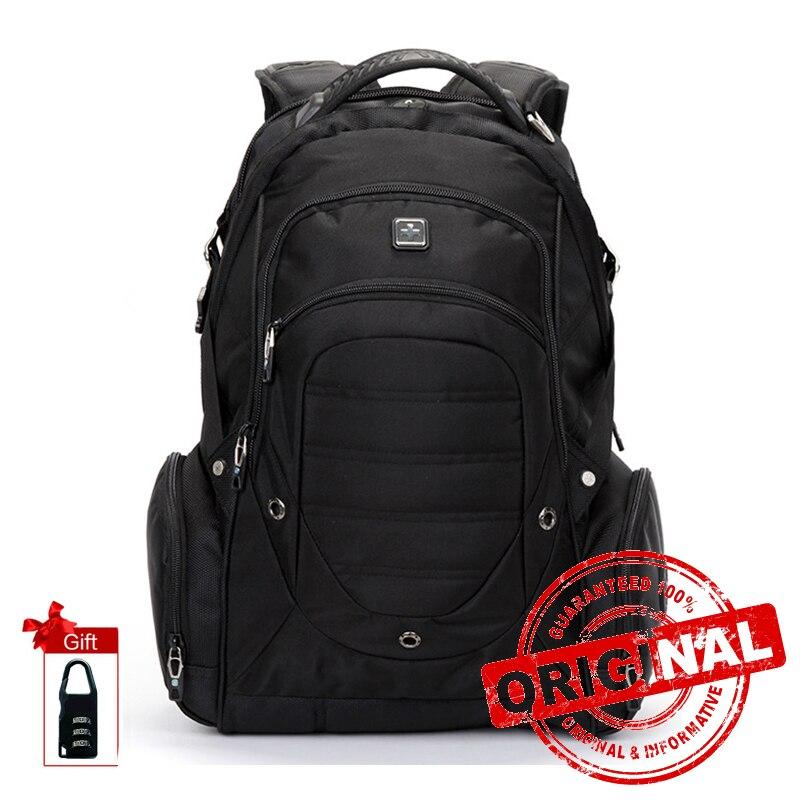 SUISSEWIN حقيبة لابتوب العلامة التجارية للماء سعة كبيرة نايلون أسود حقيبة ظهر لجهاز الكمبيوتر المحمول Bagpack السفر للرجال Sac دوس SN9851-في حقائب الظهر من حقائب وأمتعة على  مجموعة 1