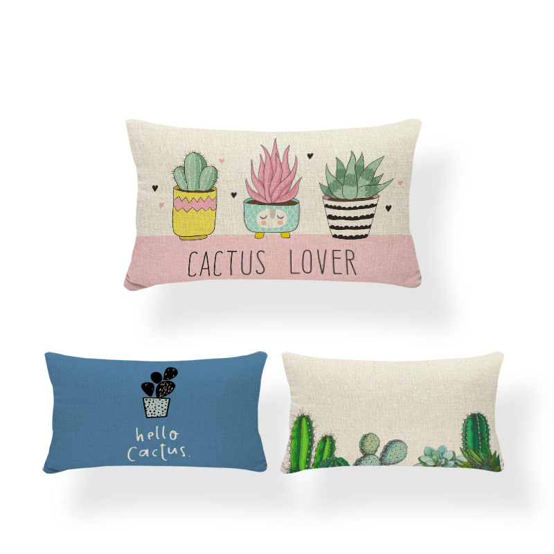 Cheap Polyester And Linen Cactus Cushion Cover Plant Alphabet Cartoon Living Room Decoration Pillow Sofa <font><b>30</b></font> * <font><b>50</b></font> Pillowcase image
