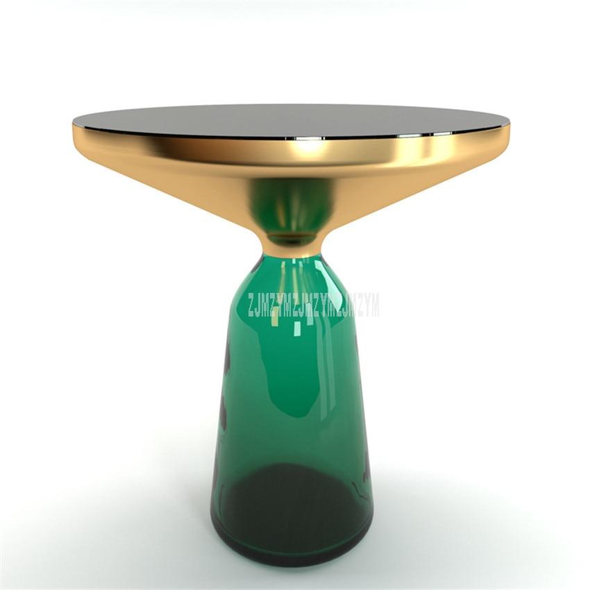 50cm Nordic Luxury Glass Tea Table Creativity Translucent Glass Bottle Leg Design Living Room Modern Round Tea Coffee Table S
