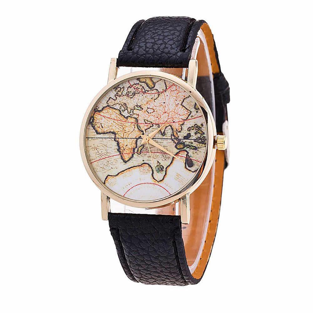 Zegarek damski אופנה מפת מודפס רצועת עור אנלוגי קוורץ שעוני יד relojes para mujer hodinky נשים relógio feminino
