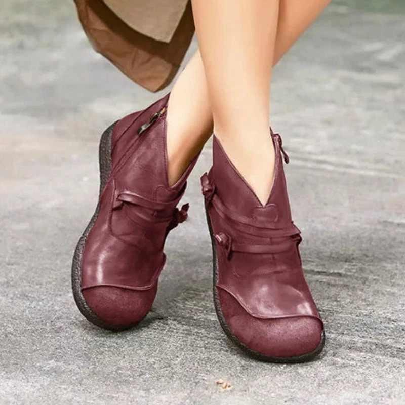 Puimentiua kadın yarım çizmeler Vintage yan fermuar 2019 kadın ayakkabı rahat düz topuk çizmeler sonbahar kış fermuar deri çizmeler